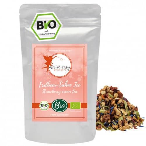 BIO Erdbeer-Sahne Tee (250g) by «mix it easy by Steffi»